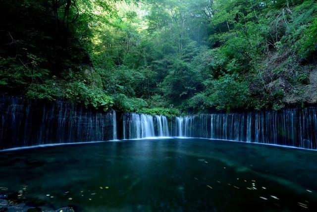 1 癒しの空間とライトアップで幻想的な「白糸の滝」